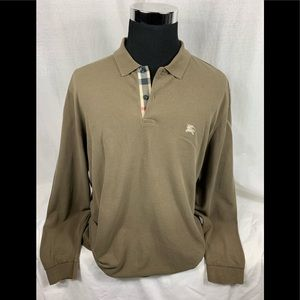 Brown BURBERRY LONDON Long Sleeve Polo Shirt XXL